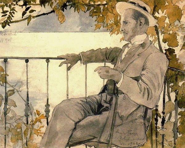 Alexander Benois -  Portrait of Mstislav Dobujinsky on the Terrace