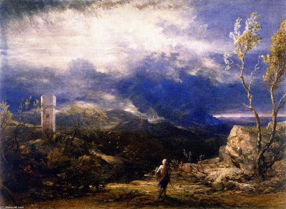 Samuel Palmer - Christian Descending into the Valley