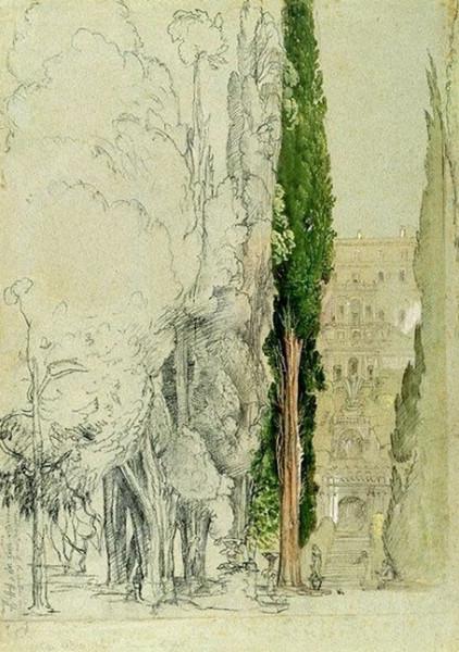 Samuel Palmer - The Villa d'Este at Tivoli from the Cypress Avenue
