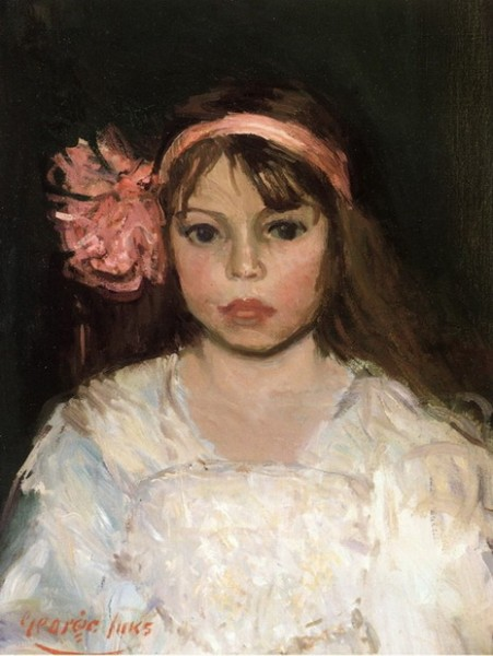 George Luks - Girl with Pink Ribbon