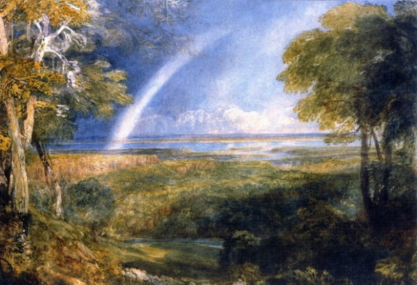 David Cox - Junction of the Severn and the Wye with a Rainbow