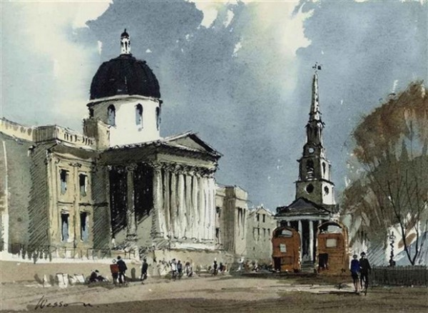 Edward Wesson -  The National Gallery and St Martin in the Fields