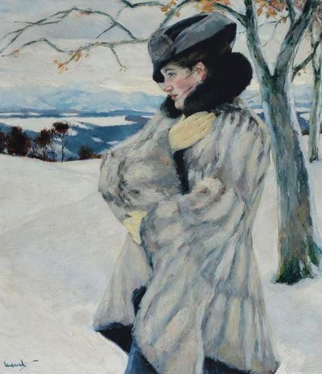 Edward Cucuel - Girl with Fur Coat