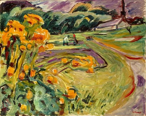 Edvard Munch  - Harvest in the autumn by the greenhouse