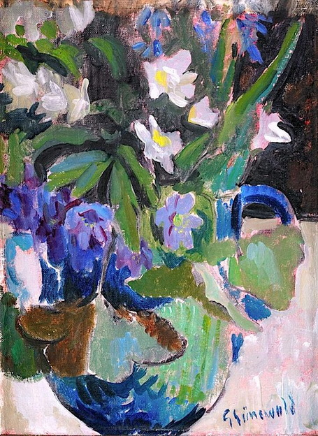 Isaac Grunewald -  Still-Life with blue and white wood anemones