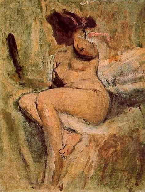 Ignacio Pinazo Camarlench - desnudo con espejo