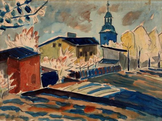 Max Pechstein -  House with Gardens in Leba
