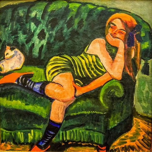 Max Pechstein - Girl on Green Sofa with Cat