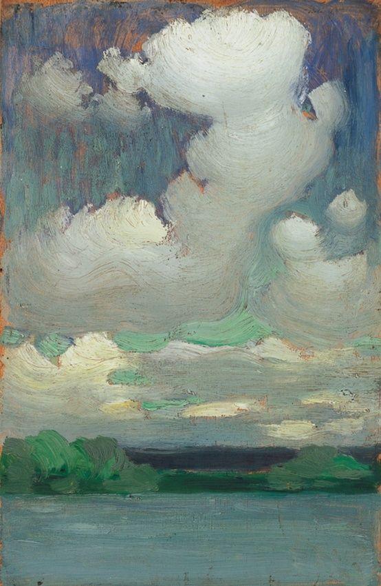 Janos Vaszary - Lake Balaton with Wreathing Clouds