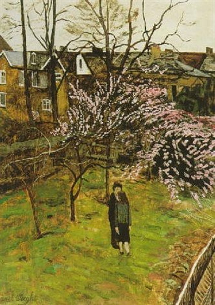 Carel Weight - Lovers in a South London garden
