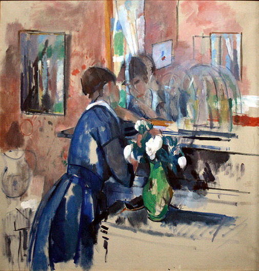 Rik Wouters - Lady in Blue in front of Mirror