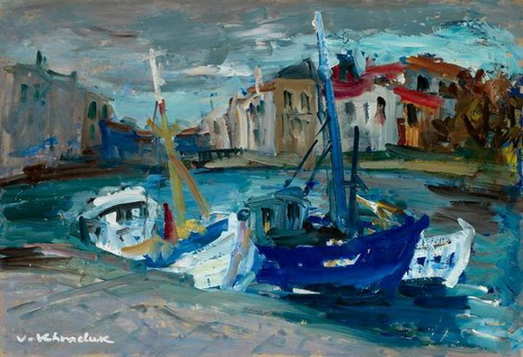 Vassyl Khmeluk (Ukraine 1903-1986 France) - Boats in the Harbor