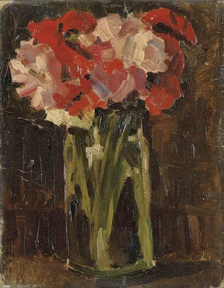 Christopher Wood -  Flowers in a glass jar