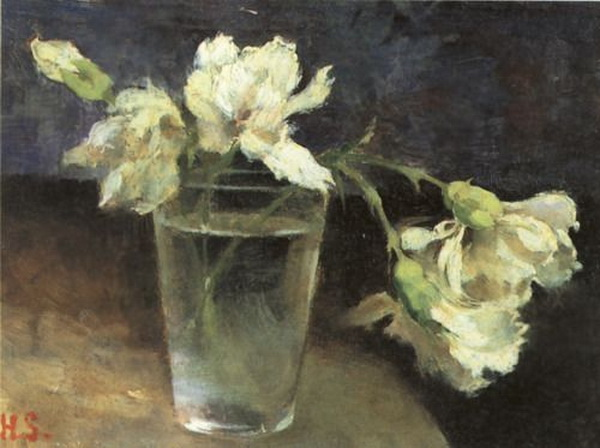 Helene Schjerfbeck- Carnations in a Glass of Water