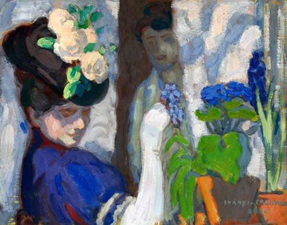 Bela Ivanyi Grunwald - Among flowers with my wife