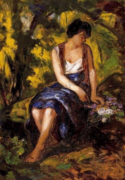 Bela Ivanyi Grunwald - Woman with flower bucket