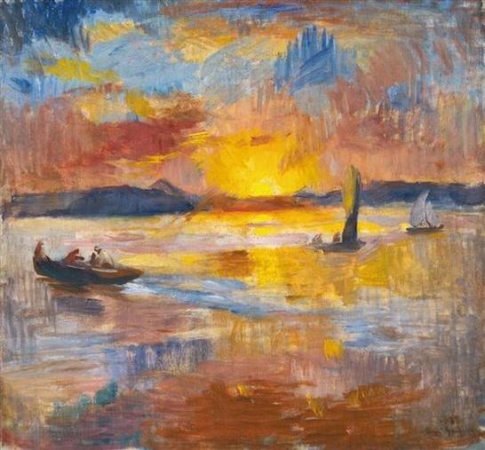 Bela Ivanyi Grunwald - Sunset at Balaton