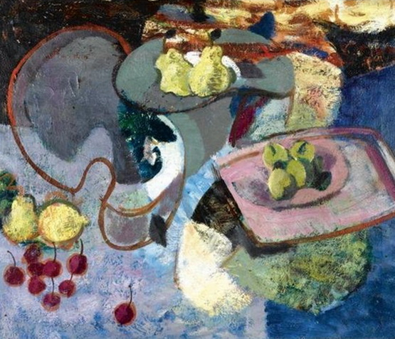 Anne Estelle Rice -  Still Life with Cherries and Pears