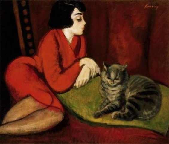 Robert Bereny - Girl on a Sofa with Cat