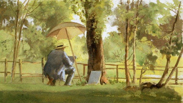 James Wells Champney - Artist Sketching In A Park