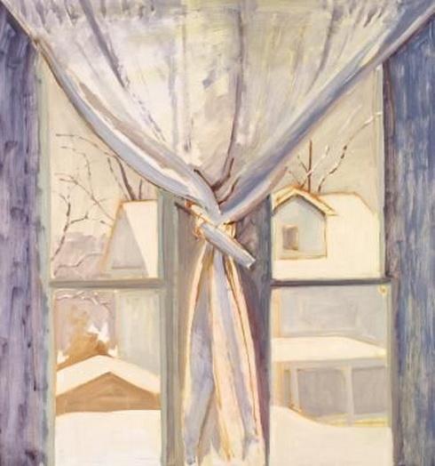 Lois Dodd - Double Window and Curtain