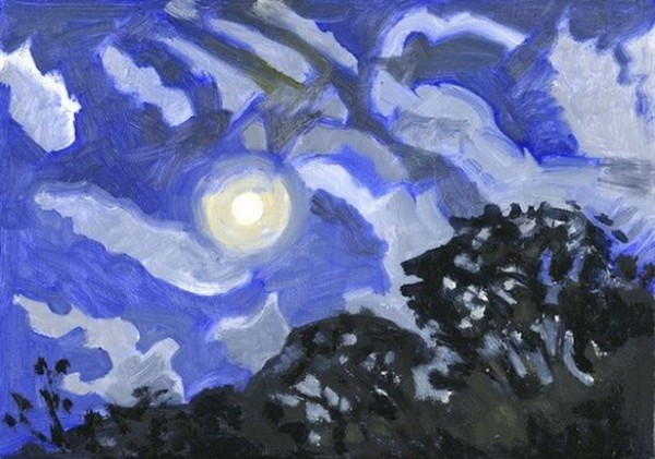Lois Dodd - Moon with Halo and Clouds
