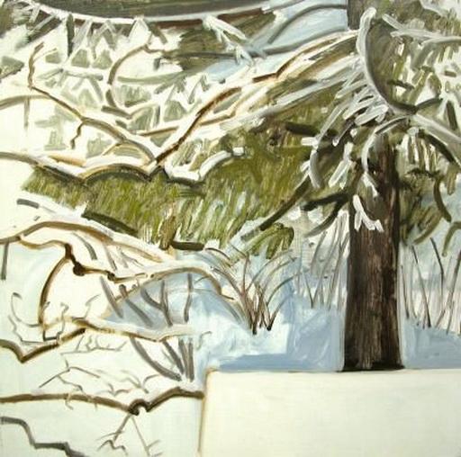 Lois Dodd - Snow and Spruce