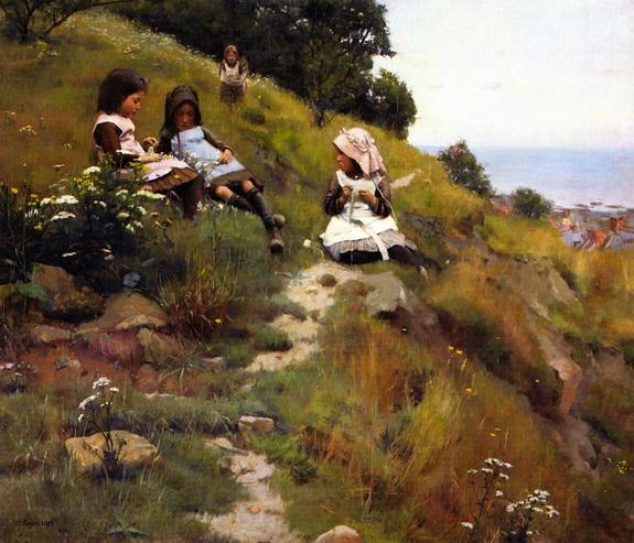 William Brymner - A Wreath of Flowers