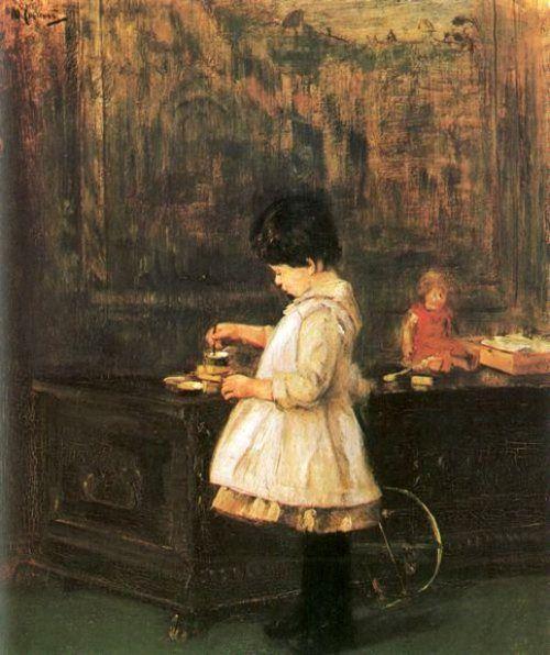Max Liebermann - Kind an der Truhe
