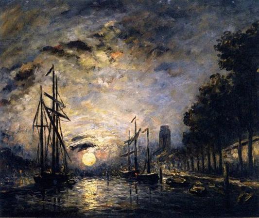 Johan Barthold Jongkind - Moonlight over a Canal, Dordrecht