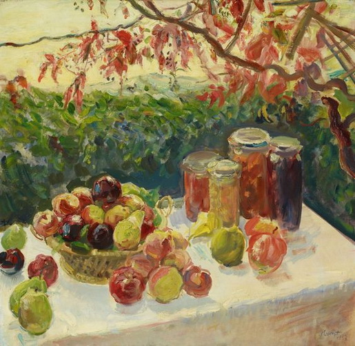 Max Slevogt - Autumn still life with fruit, grape arbo