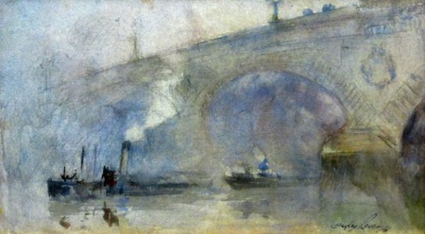 Richard Hayley Lever - Thames at Night--Waterloo Bridge with Two Boats