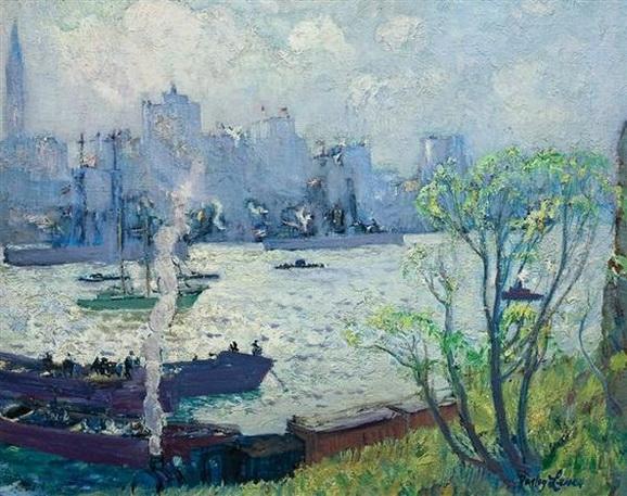 Richard Hayley Lever - US Battleships Leaving New York