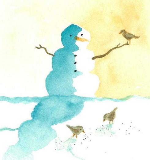 Snowman with birds