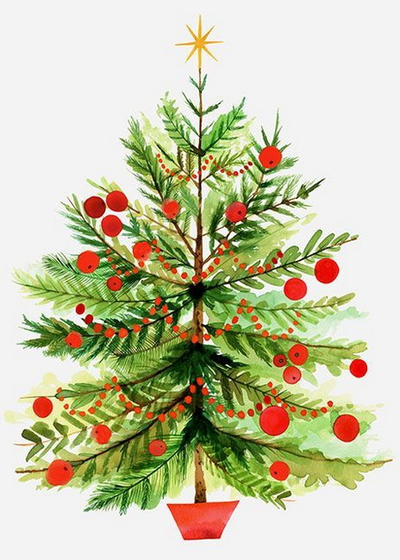 Margaret Berg Art Vintage Christmas Tree with Berries