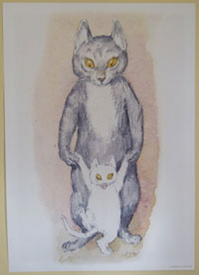 Norman Lindsay - Cat Prints Mother and kitten