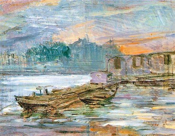 Stanislaw Wyspianski -  Barges on the Seine