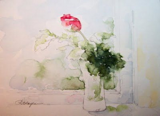 Roseann Hayes - Rosebud in Window