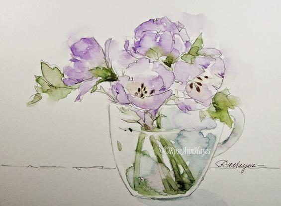 Roseann Hayes -  Lavender Flowers in Glass Cup
