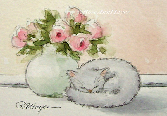 Roseann Hayes - Cat Sleeping Bouquet of Roses