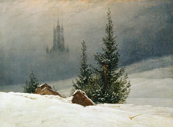 Caspar David Friedrich - Winterlandschaft mit Kirche
