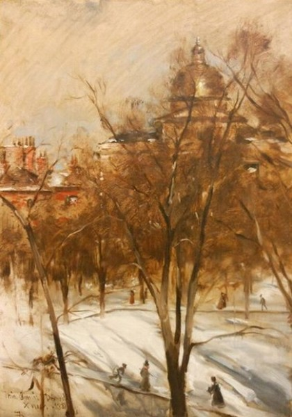 Frank Duveneck - Boston Common, Winter