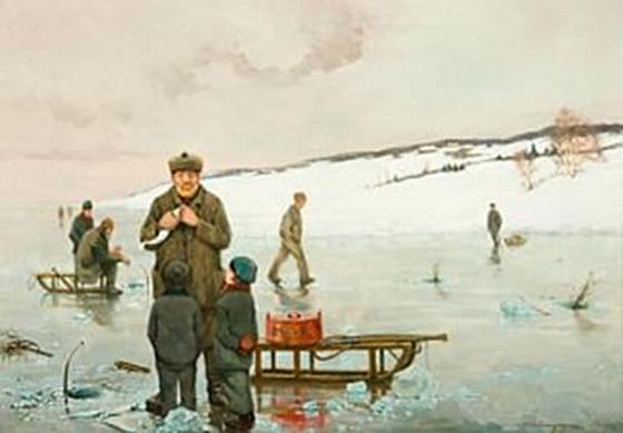 Carl Dornberger - Isfiske i Son