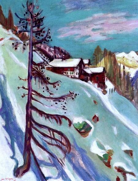 Jan Wiegers - Mountain Panorama with Pine Tree
