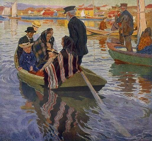 Carl Wilhelm Wilhelmson - Church-goers In A Boat