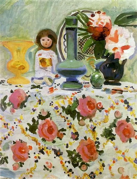 Gustaw Gwozdecki  Still Life with Japanese Doll, 1910