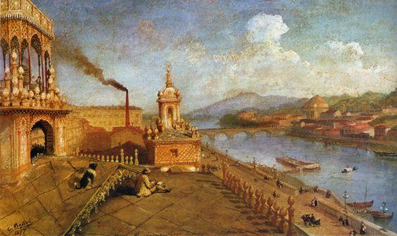 Carlo Bossoli - Il pittore sulla terrazza della sua casa a Torino
