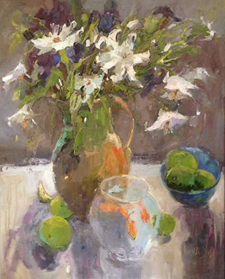 Janette Jones - White Lilies with Goldfish