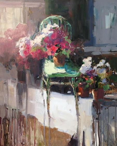 Janette Jones - Green Chair Flowers