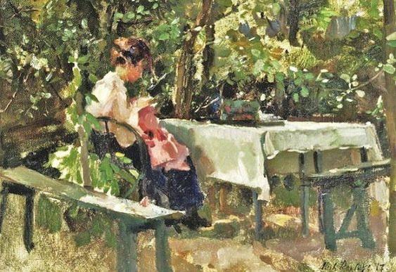 Albert Roelofs - Sewing in the Garden